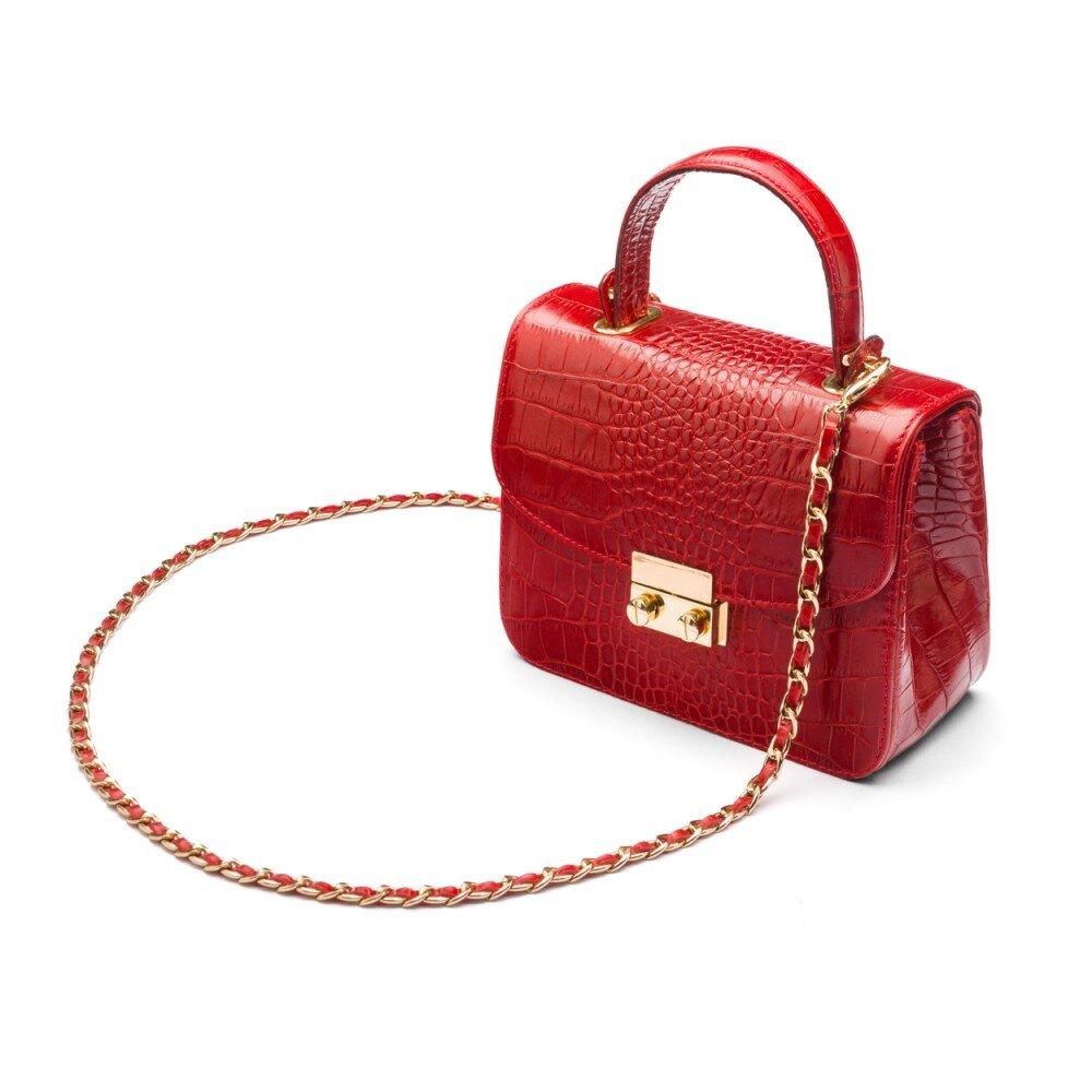 Dámska kožená kabelka červenej farby 11d2cea1d05