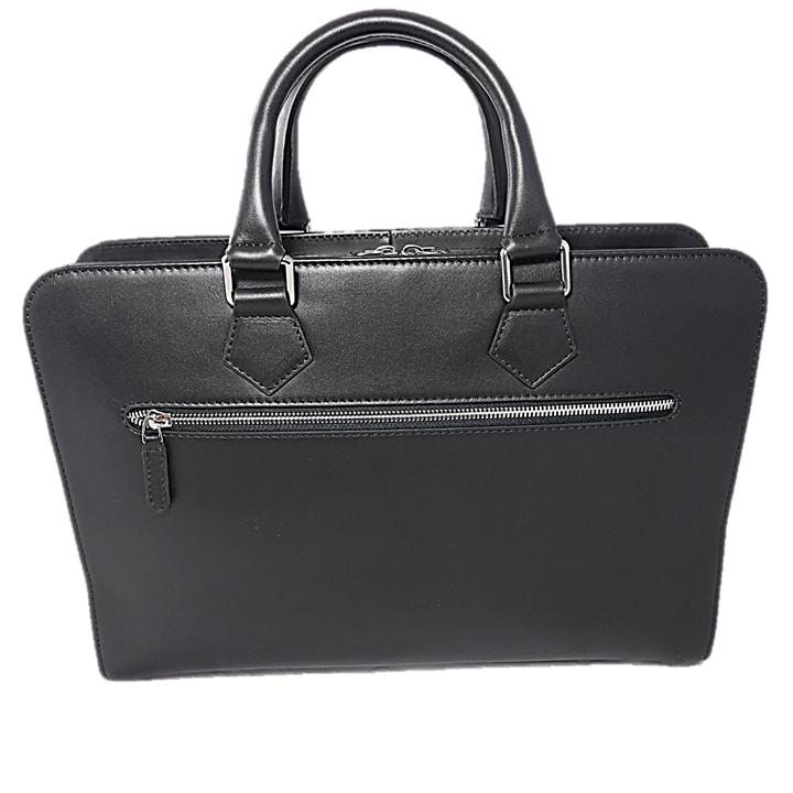 7a48b5747779 Kožená taška na notebook čierna