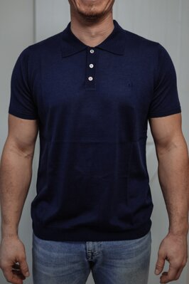 Cashmere polo dark blue